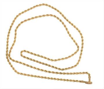 14 Karat Twisted Gold Chain, marked on the clasp, 26.5
