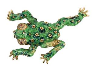 18 Karat Gold Frog Brooch, enameled green and red eyes,
