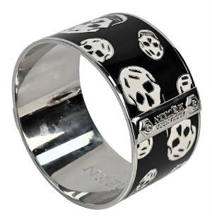 Alexander McQueen Enameled Skull Bracelet, black with