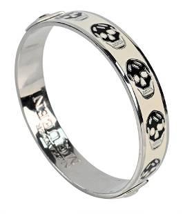 Alexander McQueen Enameled Skull Bracelet, white with