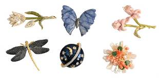 Group of Six Brooches, to include Barrera freshwater