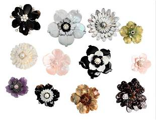 Group of 12 Magnetic Brooches, to include mother of