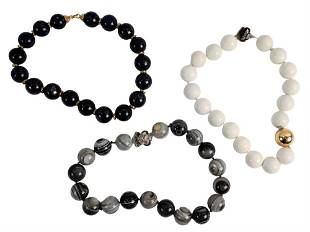 Three Large Beaded Necklaces, to include ringed agate