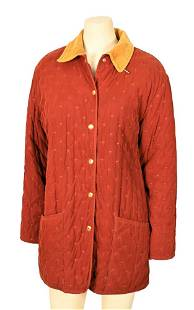 Vintage Hermes Quilted Coat, cotton fabric, snap button
