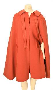 Guy Laroche Vintage Wool Cape, 1970's, snap front and