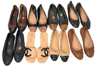 Eight Pieces of Chanel Ballet Slip Ons, along with one