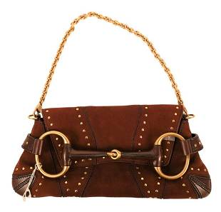 Gucci Brown Suede Horsebit Shoulder Bag, having brown