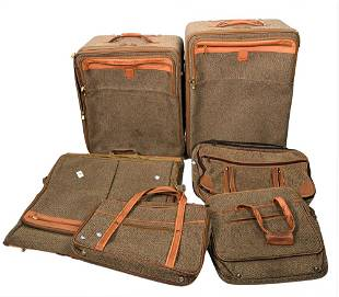 Six pieces of Tweed Hartmann Luggage and One Ventura