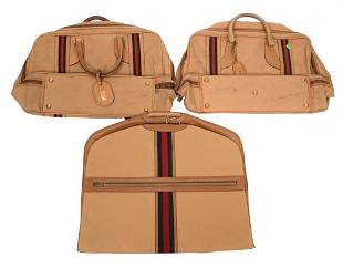 Three Piece Vintage Gucci Luggage, to include two