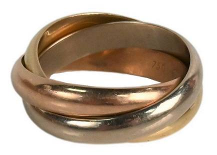 18 Karat Cartier Trinity Ring, in three colors of gold,