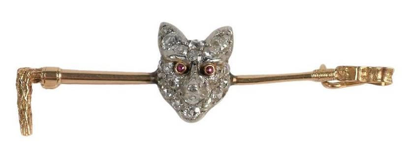 14 Karat Gold Bar Pin, mounted with diamond melee fox