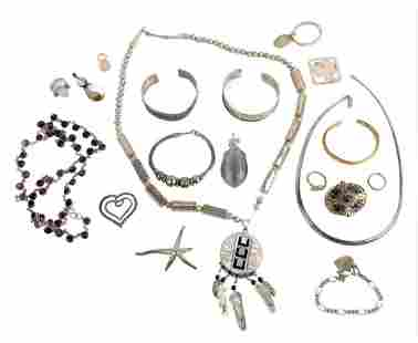 Group of Mostly Sterling Silver Jewelry, to include a