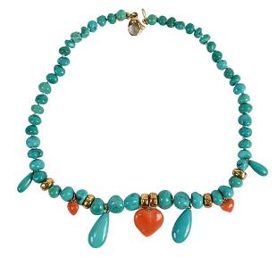 Turquoise, Coral and Gold Necklace, having coral heart