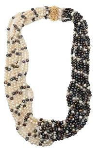 Multi Strand Natural Pearl Necklace, having 14 karat