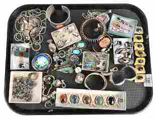 Tray Lot of Sterling Silver Jewelry, to include a