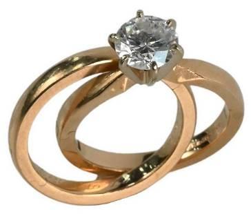 14 Karat Yellow Gold Engagement Ring, set with center