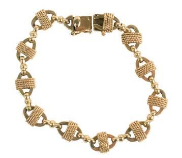 14 Karat Yellow Gold Tied Link Bracelet, 19.3 grams