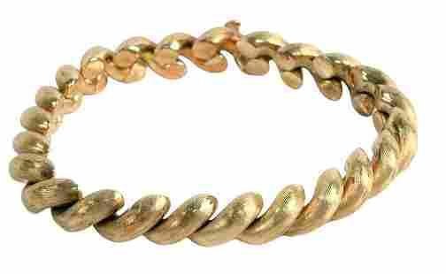 14 Karat Yellow Gold Bracelet, having satin finish,