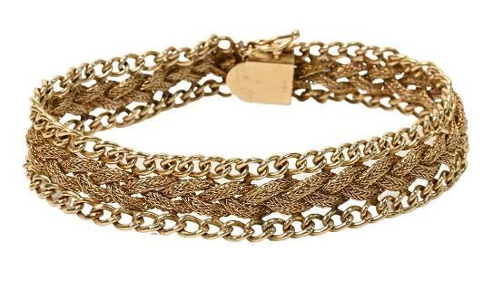 14 Karat Yellow Gold Woven Mesh Bracelet, 18.4 grams