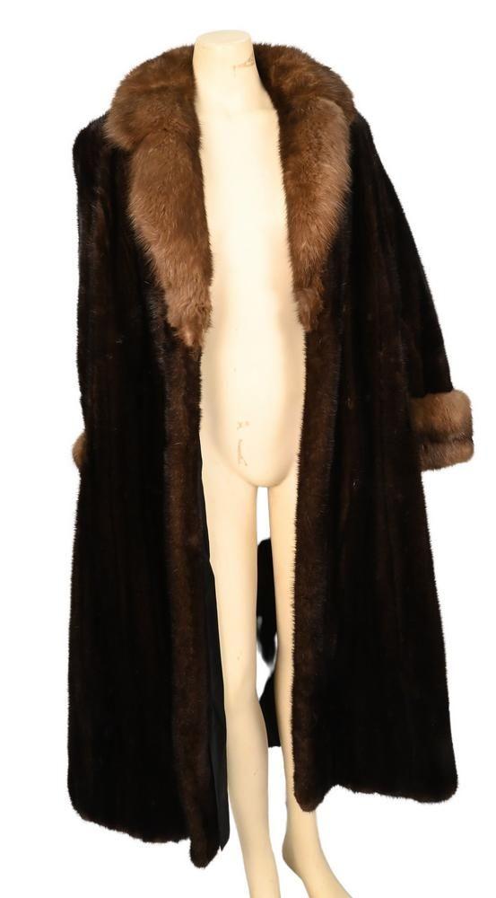Vintage Full Length Brown Mink Coat, having large fur