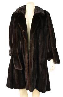 3/4 Length Brown Mink Coat, having notched collar,