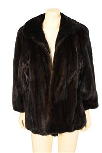 Brown Mink Jacket, having rounded collar, straight
