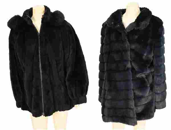 Two Piece Lot, to include dark green sheared fur jacket
