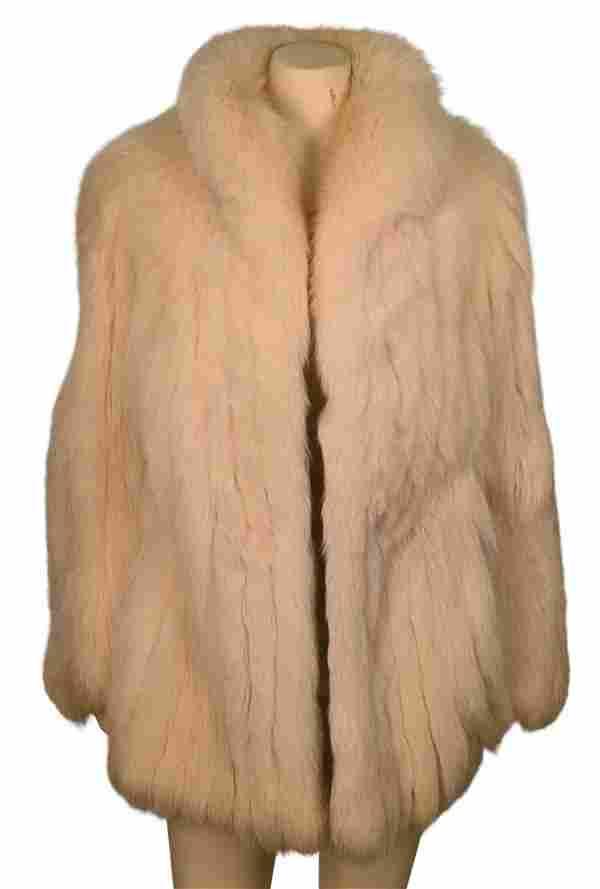 White Rabbit Fur Car Coat, having stand up collar, side
