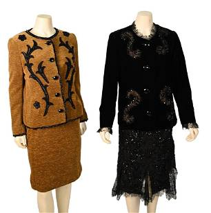Vintage Givenchy Couture Black Evening Suit and Brown