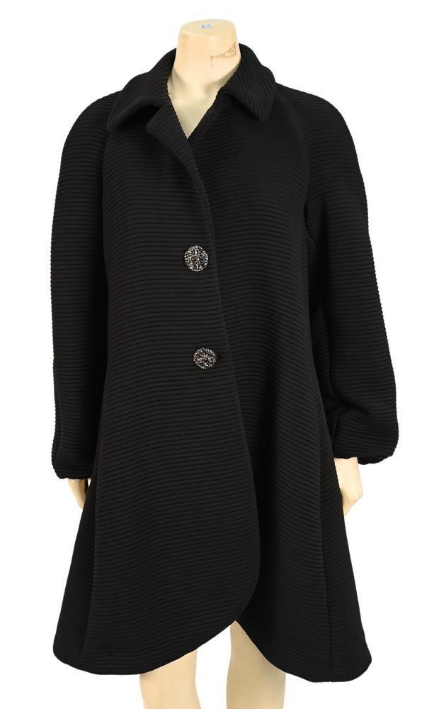 Giorgio Armani Black Quilted Swing Coat, having jeweled