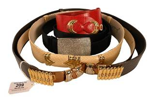 Six Judith Leiber Belts, two black and silver and four