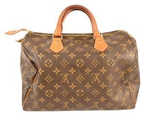 Louis Vuitton Canvas Logo Speedy Handbag, having double