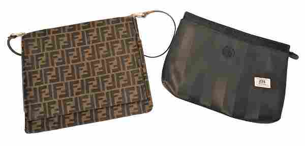 Lot of Two Fendi Bags, to include canvas leather flap