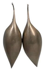 Pair of Ted Muehling Sterling Silver Earrings, length 2