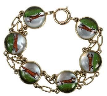 14 Karat Gold Bracelet, mounted with six circular