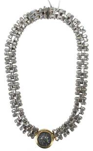 Sterling Silver and 18 Karat Gold Necklace, having