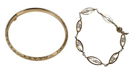 Two 14 Karat Gold Bracelets, to include bangle bracelet