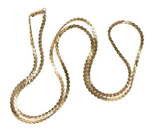 14 Karat Gold Necklace, length 30 inches, 22 grams.