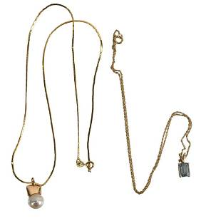 Two 14 Karat Yellow Gold Necklaces, one set with