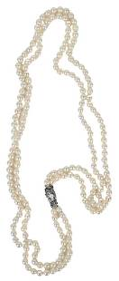 Double Strand Pearl Necklace, having silver clasp,