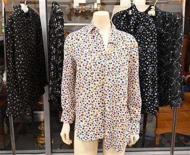 Five Yves Saint Laurent Silk Blouses, vintage, having