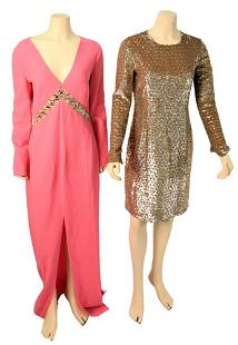 Two Michael Kors Evening Wear Dresses, to include gold