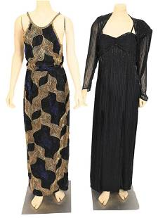 Two Beaded Evening Gowns, to include a sleeveless gold,