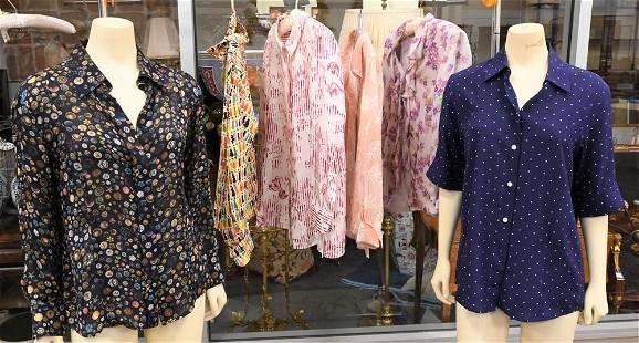 Six Designer Silk Blouses, designers include Celine,