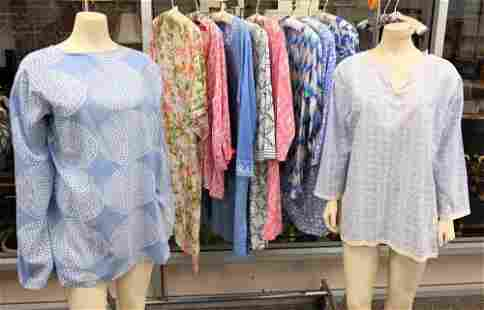 Ten Piece Cotton Tunic Lot, to include printed cotton,