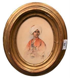 Karl Von Saar, 1797 - 1853, orientalist portrait of a