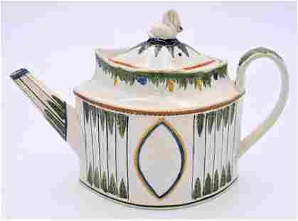 Prattware Leeds Teapot, decorated pearlwork with four