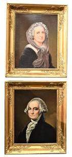 Pair of American School, 19th century, portraits,