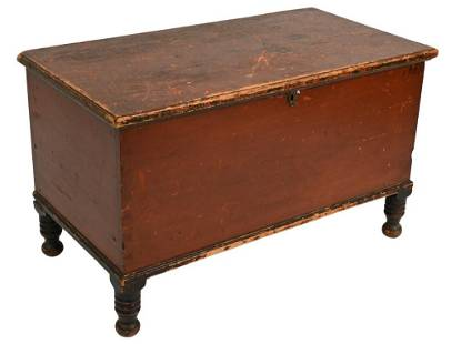 Primitive Lift Top Blanket Chest, in old red finish on