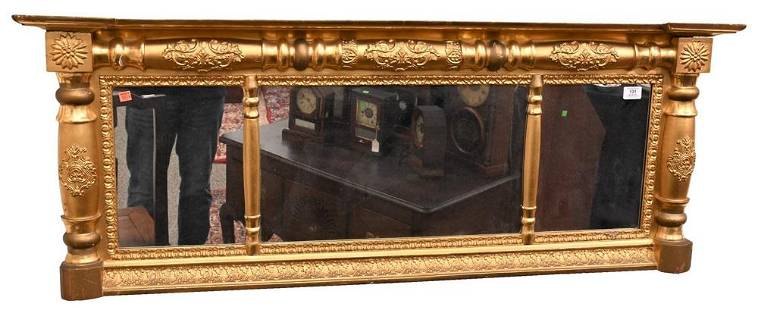 Federal Gilt Three Part Over Mantle Mirror, circa 1830,